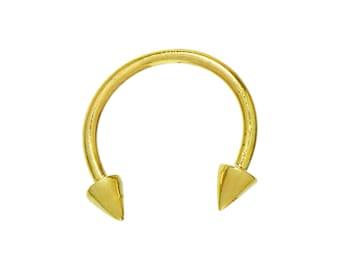 "14K Solid Gold Body Piercing Horseshoe Circular Spike Embellished Barbell (18 Gauge, 7/16"" Length)"