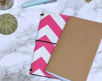 Chevron Field Notes Cover // Passport Pocket Bullet Journal Bujo Cover - Fabric Planner Cover - Fabricdori - Notebook Organizer
