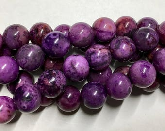 Crazy Lace Agate Purple 8mm Gemstone Rounds Approx 26 beads 8 Inch strand