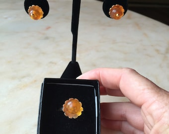 14k gold and Baltic amber jewelry set. Ring and earrings