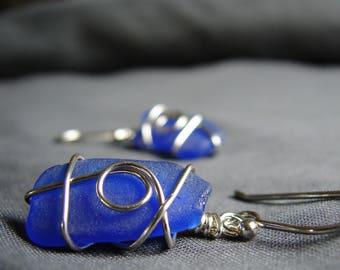 Sea Glass Earrings  /  sea glass jewelry / seaglass earrings / beach glass earrings / sterling silver / wire wrapped / canada / artisan