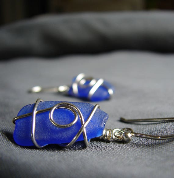 Moondance wire wrapped sea glass earrings in cobalt blue