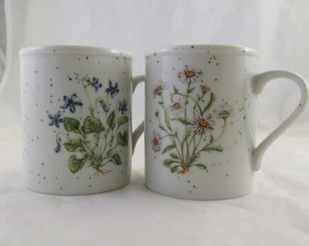Set of two 2 Stoneware Flower Mugs Daisies and Violets