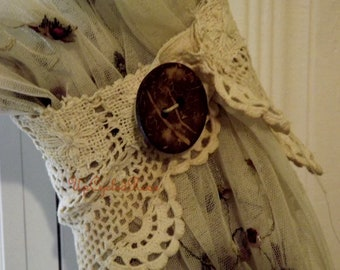 Shabby Chic Curtain Tie Backs one pair Up-cycled Vintage Crochet Ready to Ship USA Shipping FREE