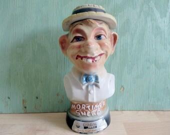 Vintage Mortimer Snerd Liquor Decanter, Creepy Ventriloquist Dummy Oddity Shelf Decor, Home Bar Office