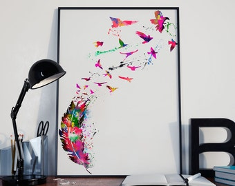 Watercolor Feather Poster Print | wall art birds prints
