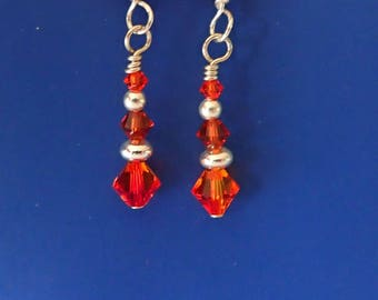 Fire Agate Swarovski Earrings