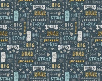 KNIT: Fossil Words in Blue, Fossil Rim Collection, Riley Blake Designs, Stretchy Knit Fabric
