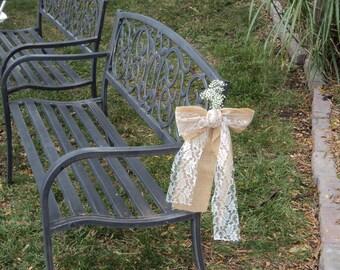 Burlap Lace Pew Bow, Rustic Burlap Bow, Chair Bows, Rustic, Shabby Chic, Country Barn Wedding Decor, Rustic Wedding Reception Bow,