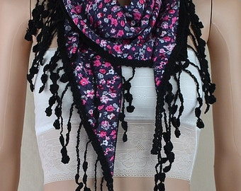 Cotton scarf, floral printed scarf, triangular scarf black lace