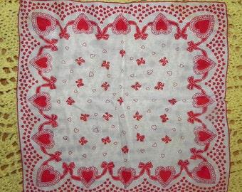 Valentine's Day Heart & Bows Handkerchief Hanky