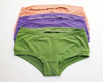 Women's Organic Underwear Organic Cotton Underwear Women's BOYSHORT Underwear Handmade Lingerie Soft Panties Eco-Dyed Underwear Gift Set