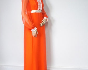 1960's Vintage Dress Gown Chiffon Empire Waist Dress Bridesmaid Prom Dress Size Small Orange and White Dress