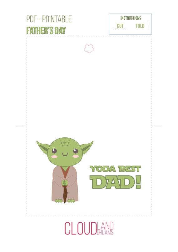 Yoda Best Dad card Star wars Father's day download card