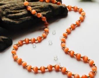 Tigers eye necklace, orange tigers eye necklace, tigers eye opal necklace