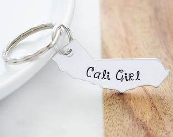 California Keychain - Cali Girl Key Ring - California Girls - Cali Girl Custom Keychains - USA Keychain - Hand Stamped Customized Accessory