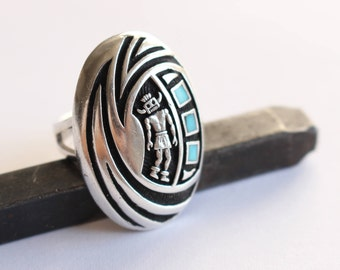Sterling Silver Zuni Ring Dancer with Mask Detailed  Size 6
