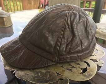 Brown Leather Jockeys Cap Short Brim Hat Quilted 6 Panel