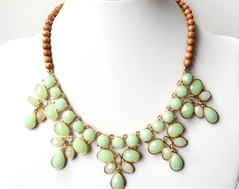 Necklace - Mint Green & Wood Statement Necklace - Chunky Gold Necklace - Wood Beaded Statement Necklace - Light Green, Lime Green