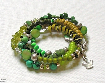 Wrap bracelet, beaded bracelet, bracelet, necklace, beaded jewelry, unique, jewelry, silver, crown, green, olive, material mix, gift for you, nature jewelry