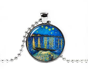 Starry Night over the Rhone Necklace Over the Rhone Pendant Van Gogh Necklace Art Jewelry