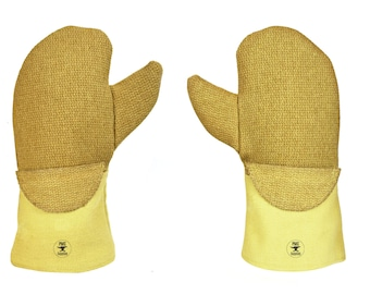 "14"" PBI® Nomex® Wool Mittens w/ Flextra® Cuff Casting Melting Gold and Silver Safety Gear - SAF-0019"