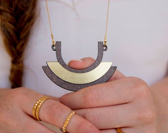 christmas sale, Half Circle Necklace, half moon necklace, modern jewelry, Long Geometric Necklace, wooden geometric jewelry, boho necklac
