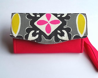 Womens Wallet, Smartphone Wallet, Accordion Wallet, Necessary Clutch Wallet, Clutch, Fabric Wallet, Large Wallet, NCW