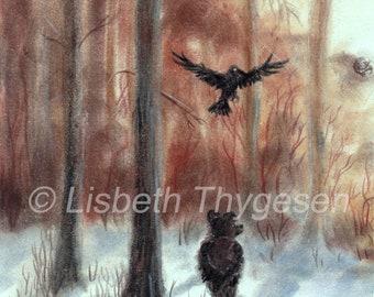 "Original Art: ""Bear Dreamer"", bear, raven, winter, art, pan pastel, color pencil, drawing, solitude, thoughtful, nordic, woods, woodland"