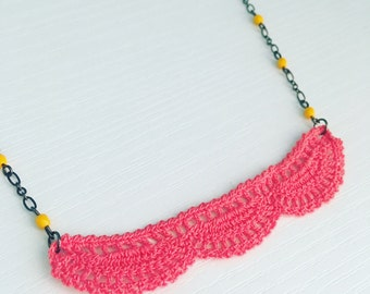 Addison Crochet Necklace in Bright Coral, Layering Necklace, Doily Necklace, Beach Fashion, Gift Under 50, Mother's Day Gift, Teen Gift