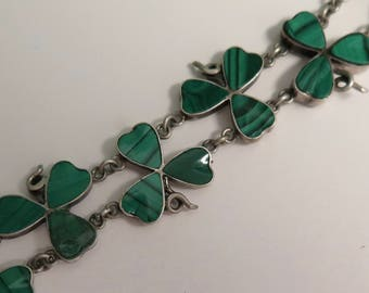 Victorian Scottish Malachite Linked Bracelet - Shamrock, Good Luck, Lucky