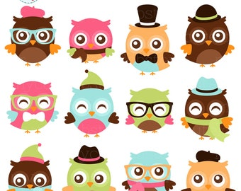 Fashion Owls Clipart Set - hipster owls clip art, fashion, cute owls, glasses, hats - personal use, small commercial use, instant download