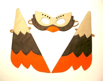 Bird mask  wings set brown orange felt costume for kids handmade childrens accessory Dress up play Theatre roleplay Photo prop