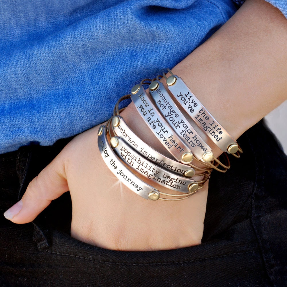 inspirational stretching silver bangle view blessing angel p bracelet message tone guardian two quick