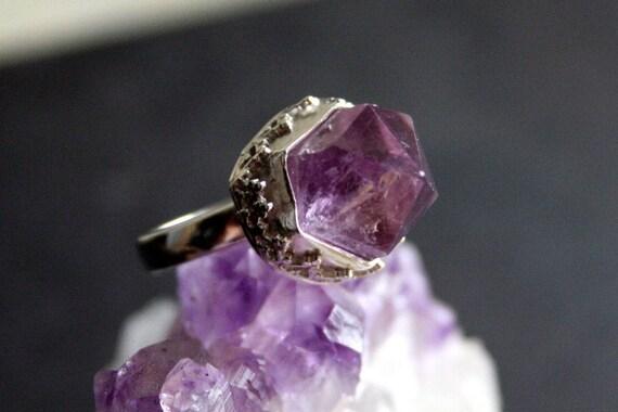 Rustic Amethyst Crystal Sterling Silver Ring
