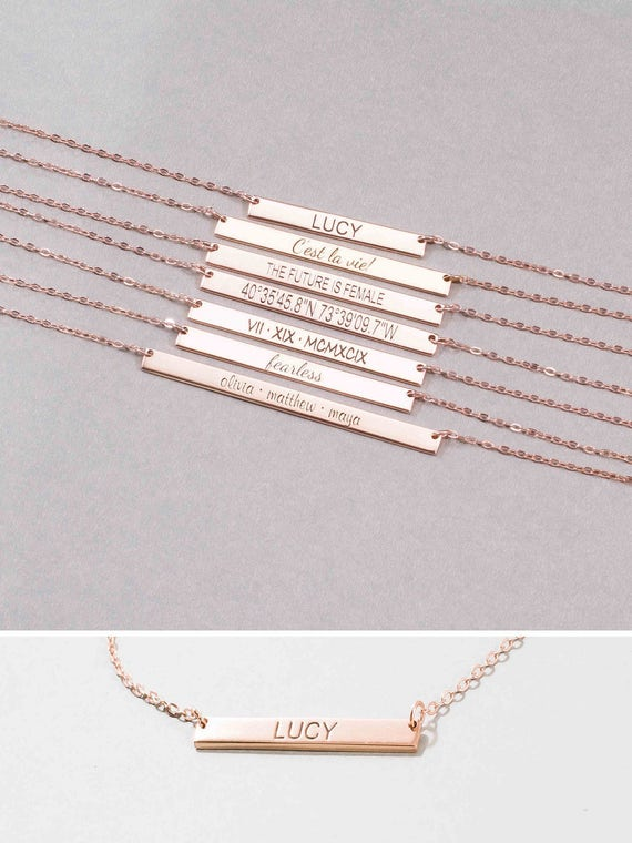 Personalized Name Plate Necklace Inspirational Skinny Bar