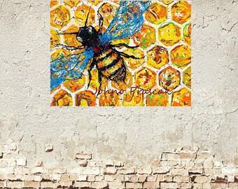 Garden wall art, Honey bees, save the bees,  Bee art, bees, garden art, garden critters, Metal prints, Pittsburgh Artist,  by Johno Prascak