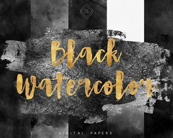Black Watercolor Digital Paper - Grey Digital Paper Pack - Gray Paint Papers Texture - Watercolor Textures - Digital Background Scrapbook