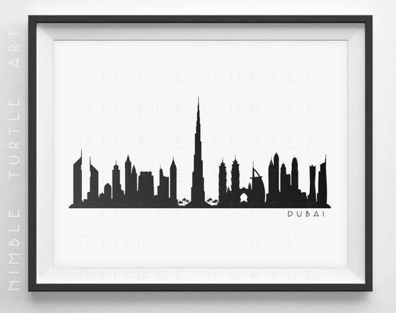 Dubai Skyline Silhouette Printable Skyline Dubai UAE
