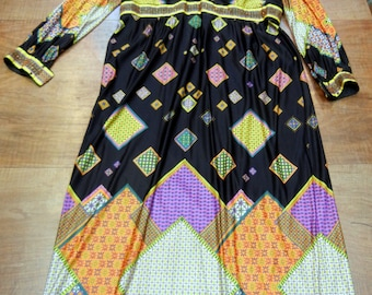 1970s maxi dress - ladies plus size - empire waist - multi-color with beading - size 1X or size 18