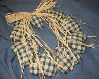 Handmade Primitive Green Puffy Heart Wreath