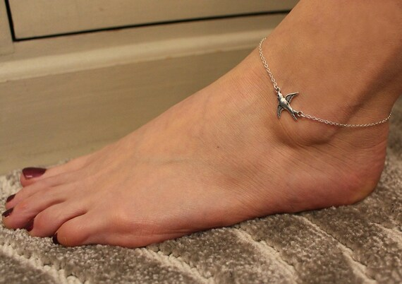 Silver Swallow Anklet