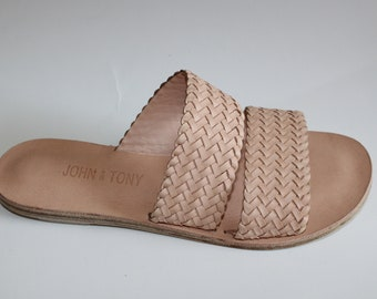 Clair Leather Woven Strap Sandal / Womens Sandal / Handmade Sandal / Leather Sandal / Greek Sandal / Natural / Black / Tan