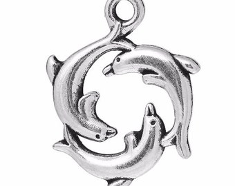 10 Dolphin Charms, 2 Sided, Antique Silver Tone (1U-105) NEW3