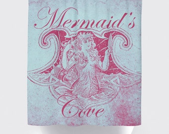 Shower Curtain and More - Mermaid Cove Pink Beach Chic | See Dropdown for Pricing and Matching Decor Options