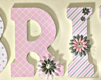 Pink and gray wall letters for baby nursery, girls wood name letters, decorative letters, custom letters, personalized letters, Brielle