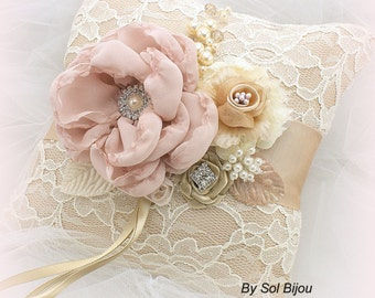 Wedding Ring Bearer Pillow Ivory Champagne Blush Rose Lace Ring Pillow Vintage Style Elegant Unique Ring Cushion
