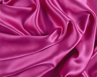 Fuschia Stretch Silk Charmeuse, Fabric By The Yard
