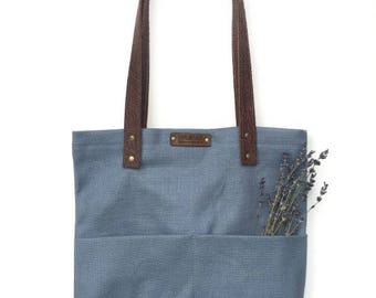 Tote Bag with Embossed Leather Handles - Sky Blue