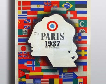 Paris 1937 Exposition Internationale - Vintage French Travel Ad Poster Print